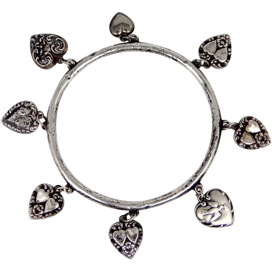 Victorian Puffy Heart Bangle Bracelet 8 Puffy Hearts