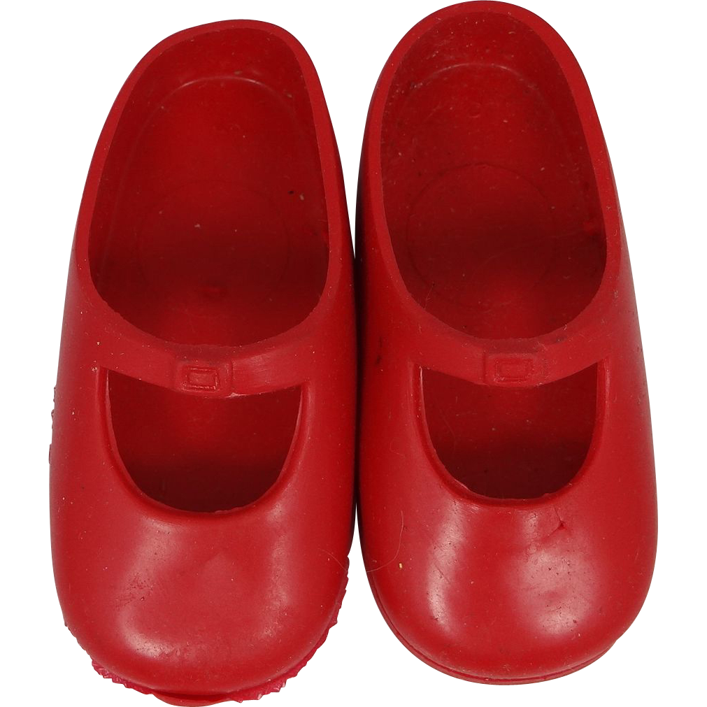 Signed Ideal Red Doll Shoes Shirley Temple 1970's