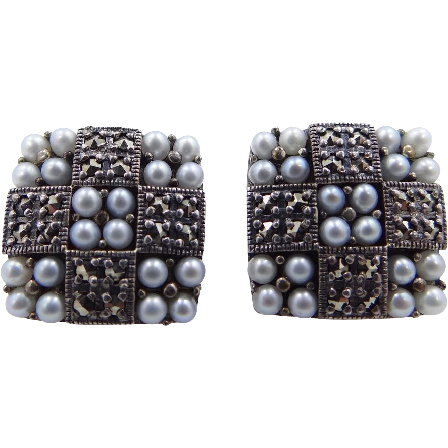 Artist Signed Sterling Silver, Marcasites & Seed Pearls Earrings