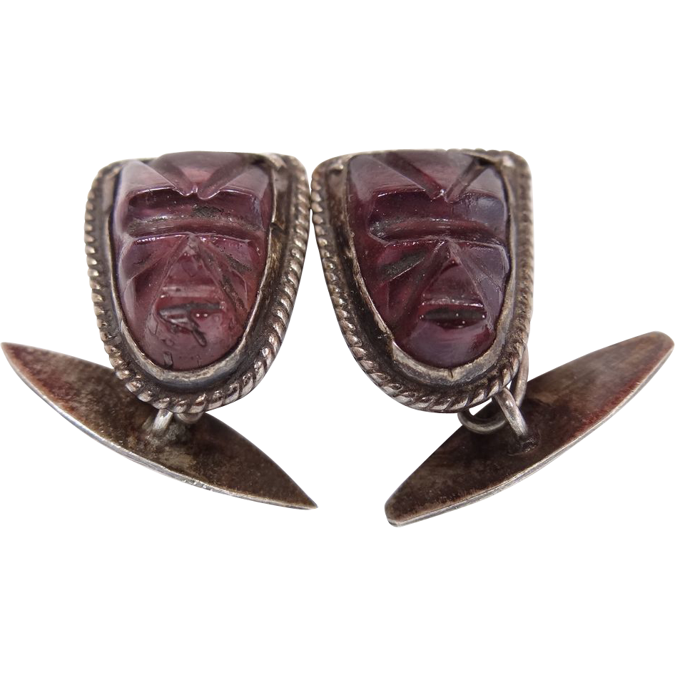 Vintage Mexico Sterling Obsidian Face Mask Amethyst Glass Cufflinks