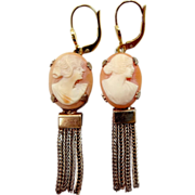 1930's Leverback Cameo Dangle Earrings