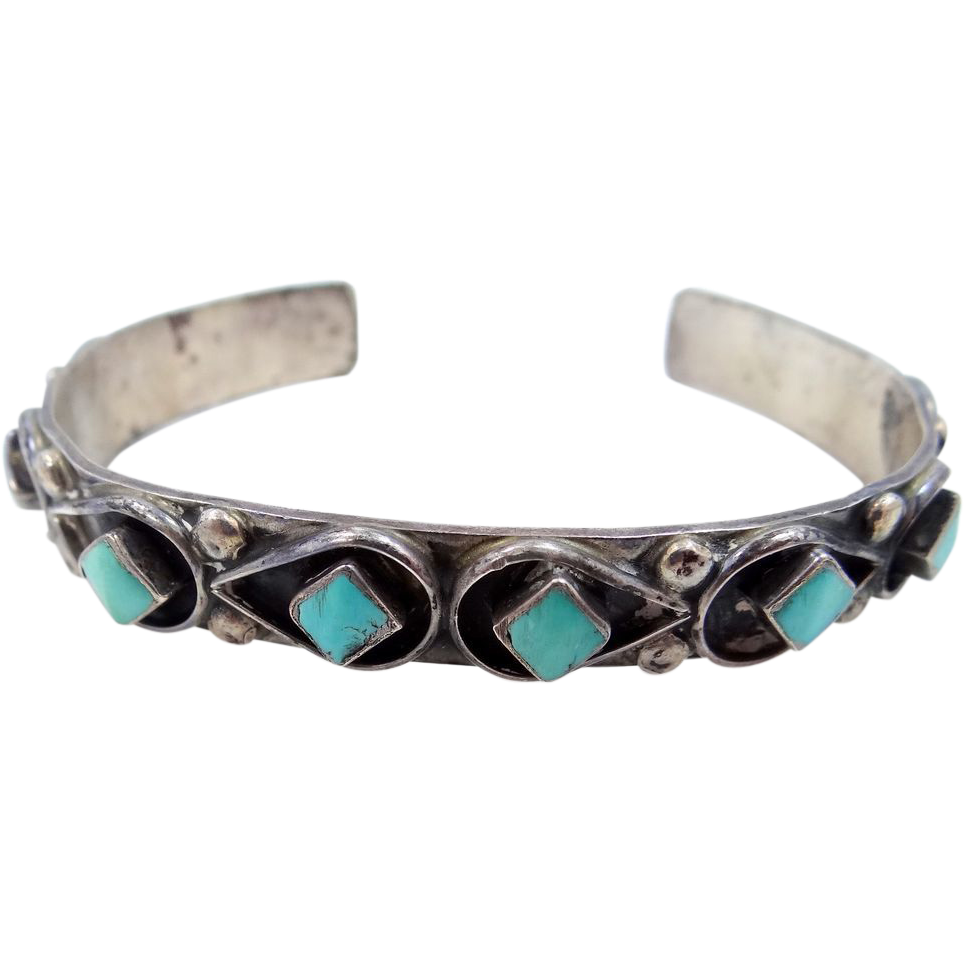 1960's Sterling Turquoise Southwestern Cuff Bracelet