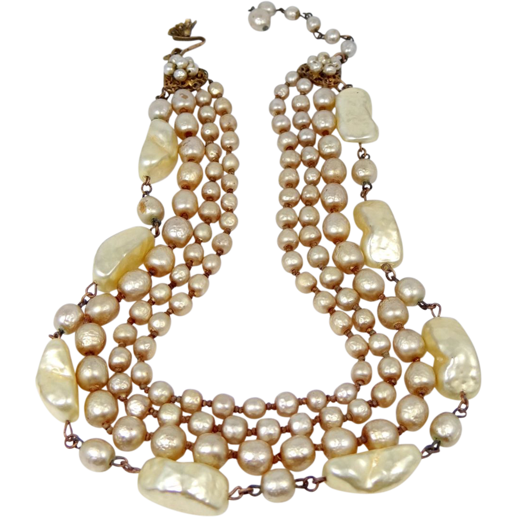 Signed Miriam Haskell 4 Strand Baroque Faux Pearl Necklace HUGE Unusual Pearls