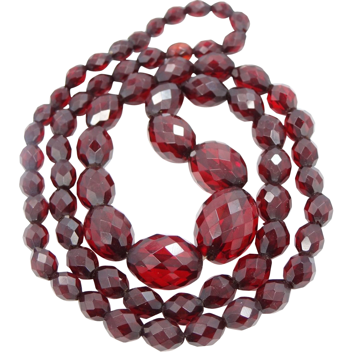 Art Deco Faceted Cherry Amber Bakelite Necklace Original Screw Clasp