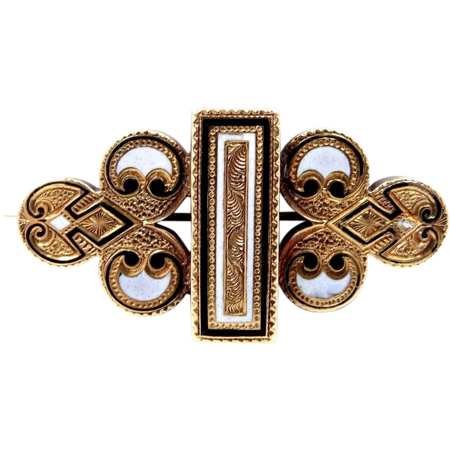 14k Gold and Enamel Victorian Pin