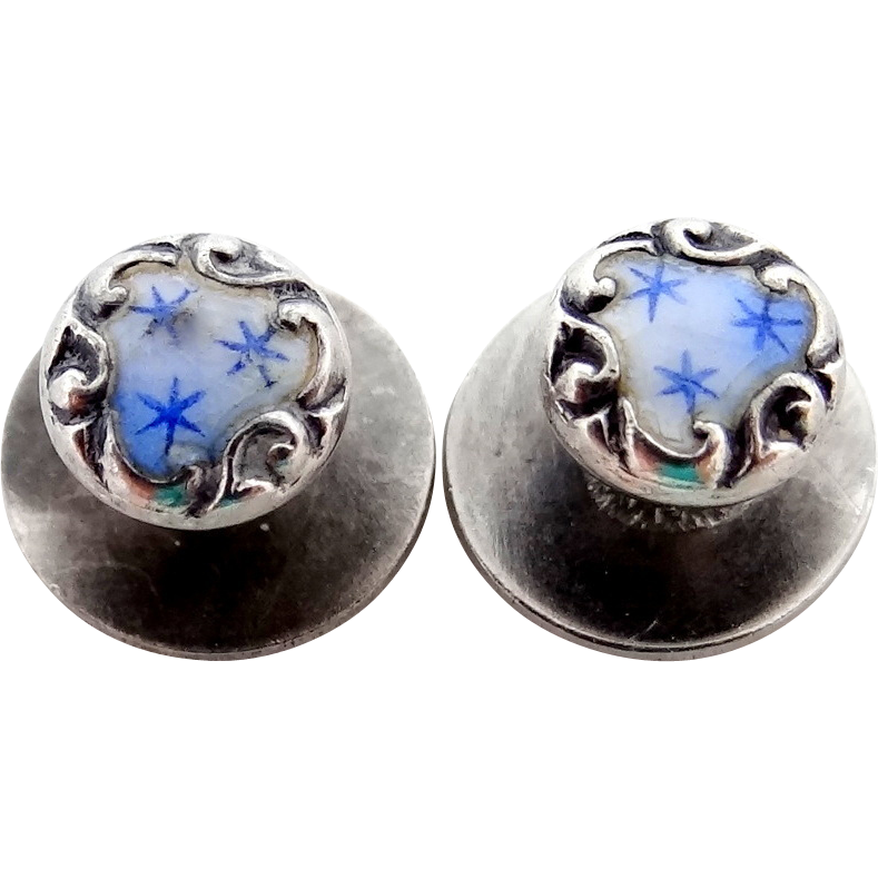 Ladies Victorian Sterling and Enamel Cuff Buttons