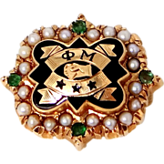 10k Gold 1940s Phi Mu Rho Chapter Sorority Pin Seed Pearls and Emeralds