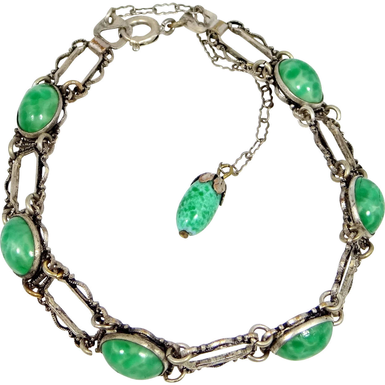 1930s Silver Plated Peking Glass Bracelet
