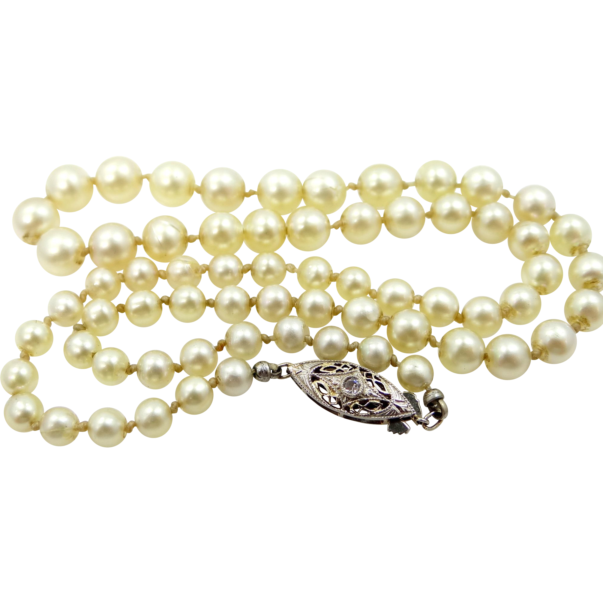 18k white gold pearl necklace from mur sadies on