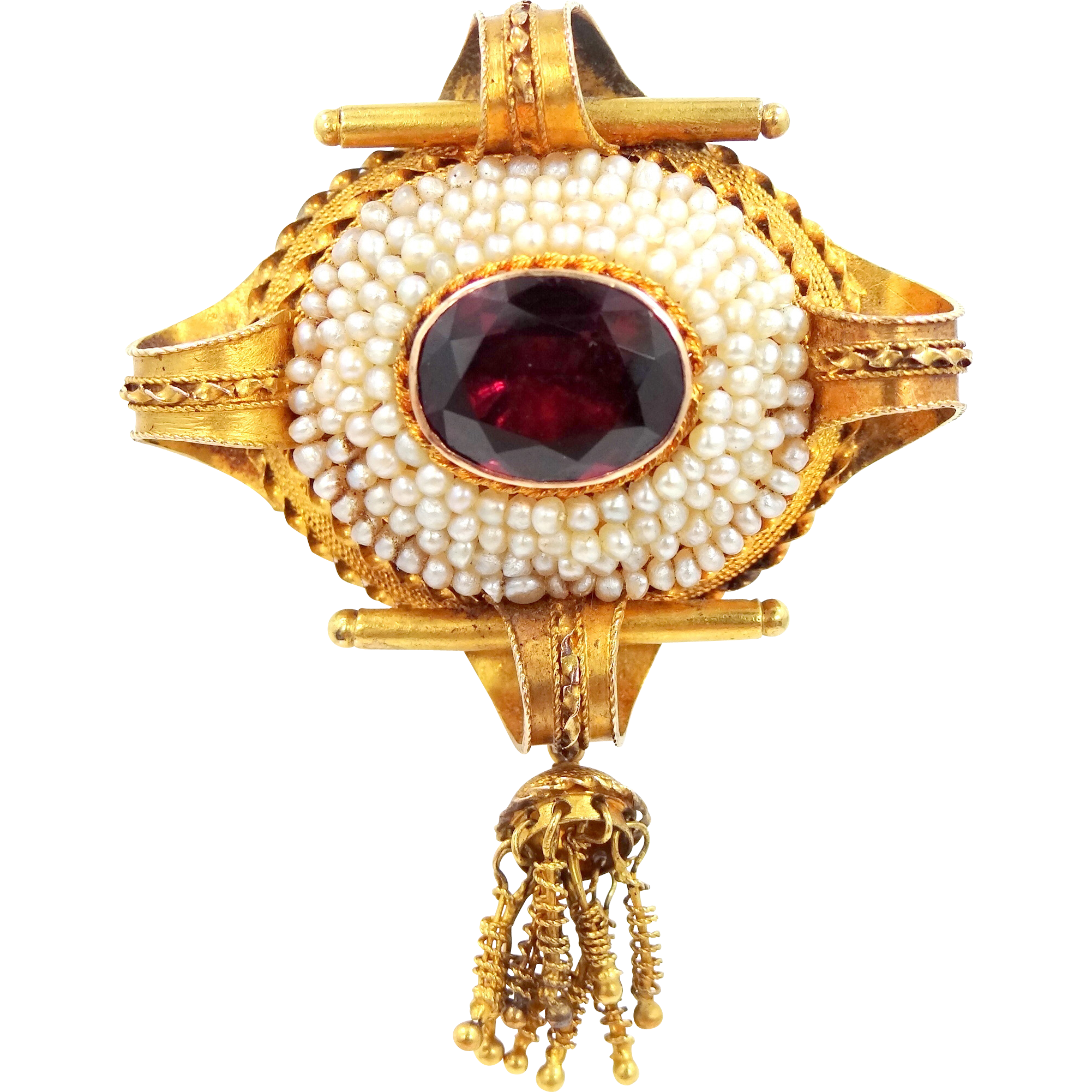 14k Gold Victorian Garnet and Seed Pearls Pin