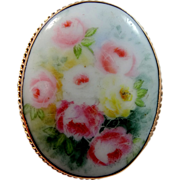 Rauenstein Germany 10k Gold Porcelain Pin