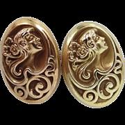 14k Gold Art Nouveau Cuff Links Woman's Profile Cufflinks