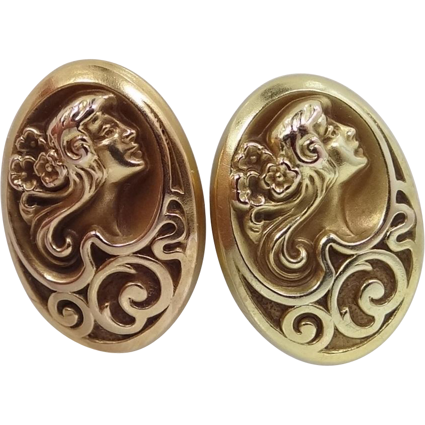 14k Gold Art Nouveau Cuff Links Woman's Profile Cufflinks