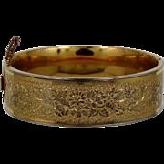 """1930's Binder Bros. 3/4"""" Wide Gold Filled Etched Bangle Bracelet"""