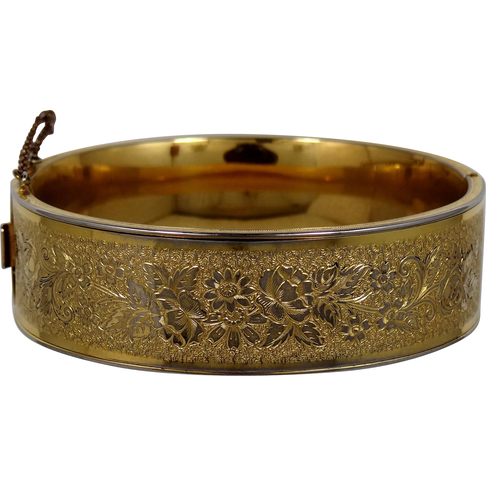 "1930's Binder Bros. 3/4"" Wide Gold Filled Etched Bangle Bracelet"