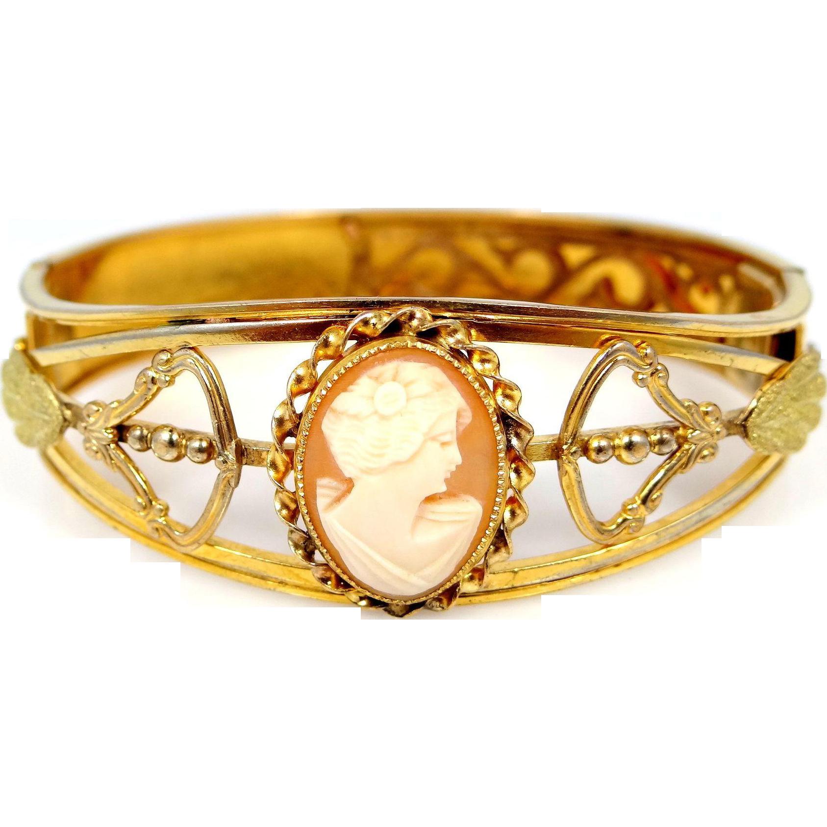 Vintage Shell Cameo Gold Filled Bangle Bracelet