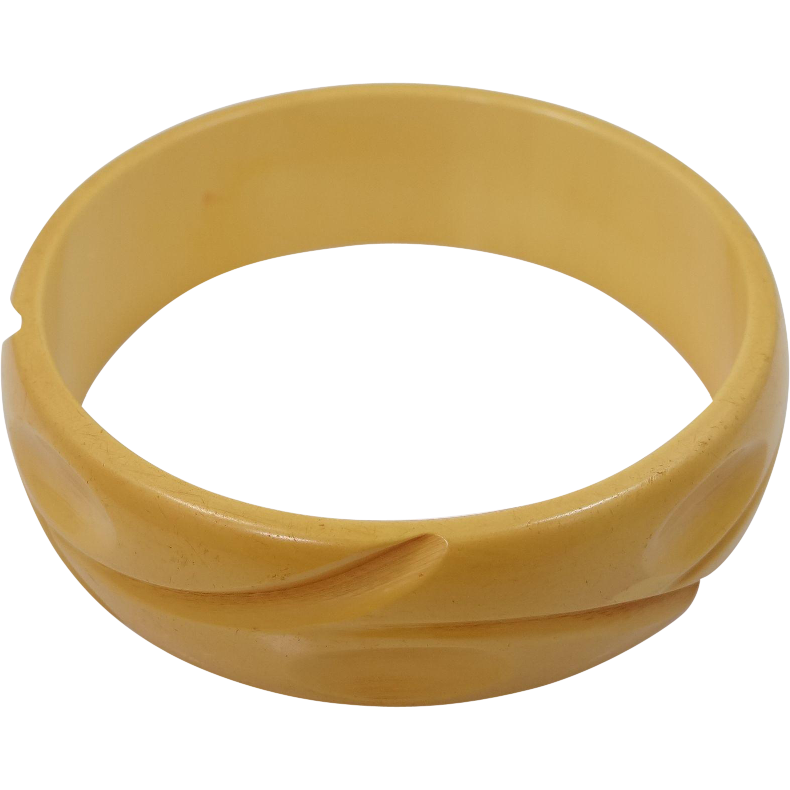 Creamed Corn Bakelite Finger Print Carved Bangle Bracelet
