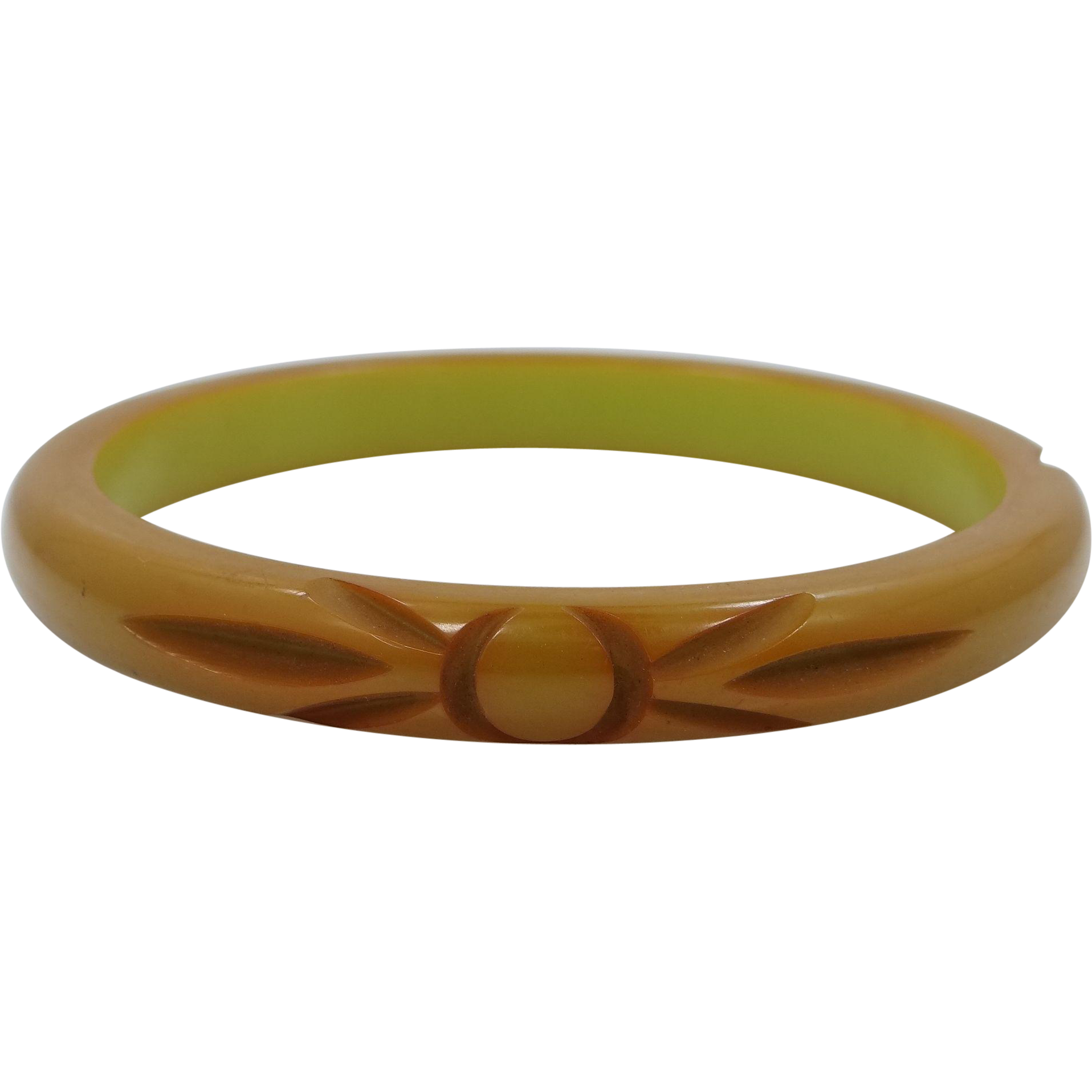 Carved 2 Color Bakelite Bangle Bracelet