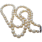 14k White Gold Natural Freshwater Pearls 1920's Necklace