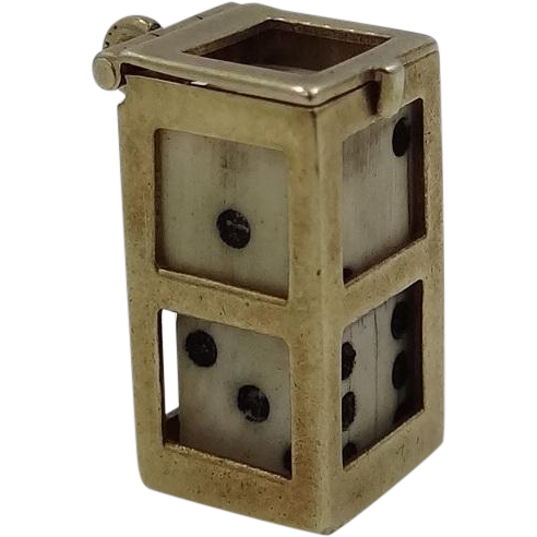 14k Gold Carved Bone Dice Charm w/Case