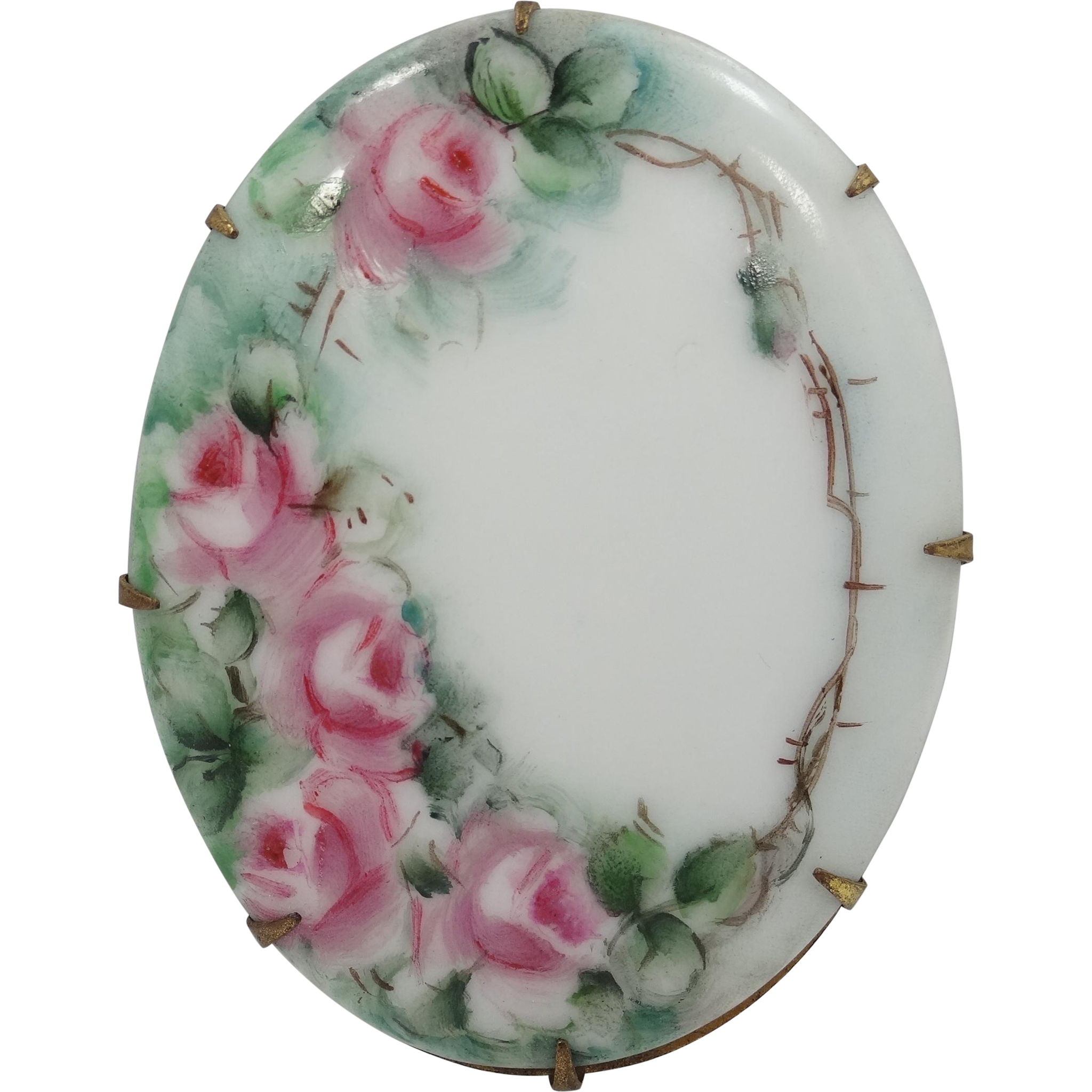 Victorian Hand Painted Porcelain Roses Brooch
