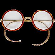 Victorian A. Windsor Simulated Tortoiseshell Round Eyeglasses