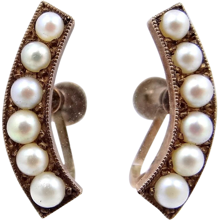 Early 1900s 10k Gold and Seed Pearls Earrings