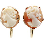 10k Gold 1920's Carved Shell Cameo Screw Back Earrings