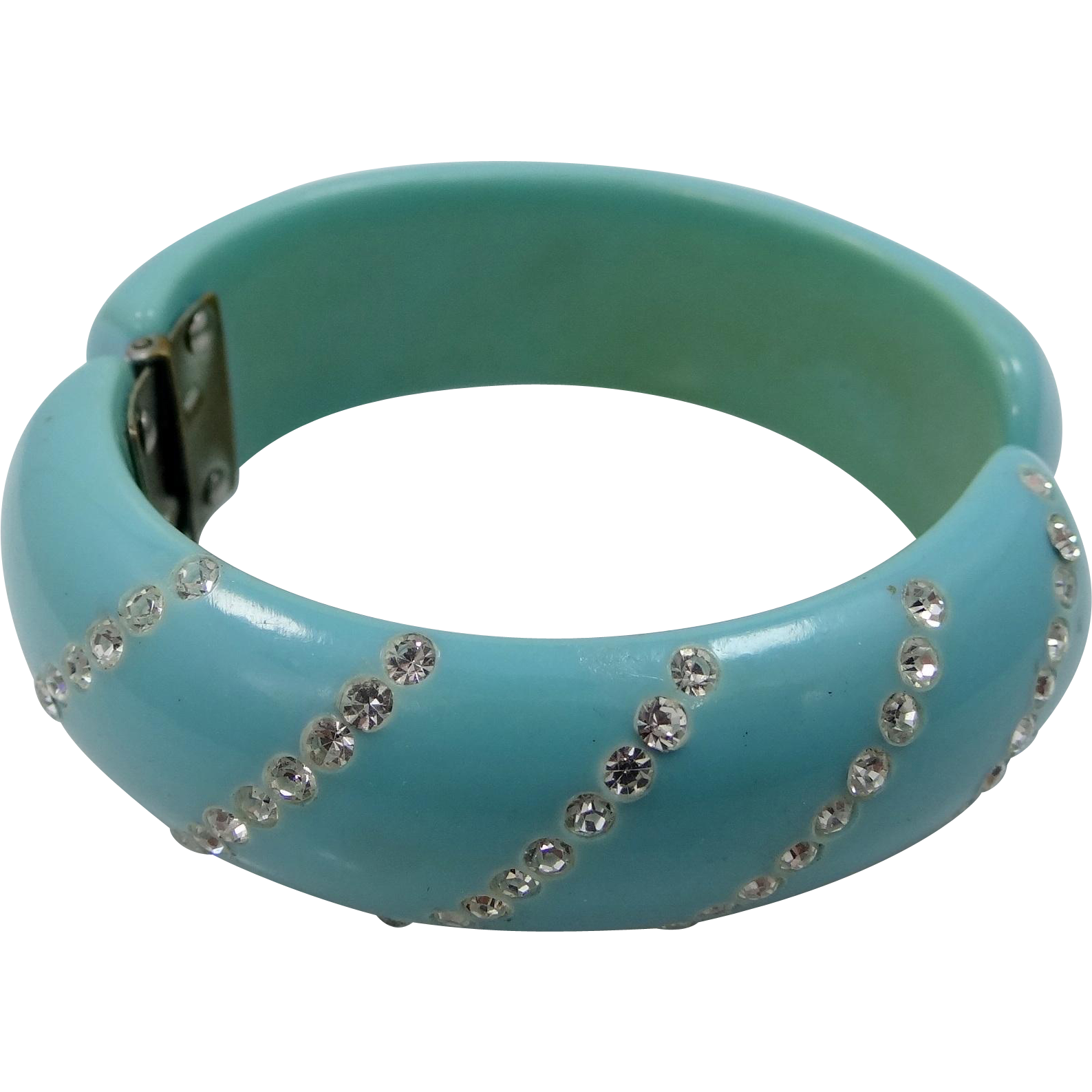 1950's Blue Lucite Rhinestone Clamper Bangle Bracelet