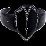 Deco Black Celluloid, Rhinestones & Faux Seed Pearls ARM Flapper Bracelet