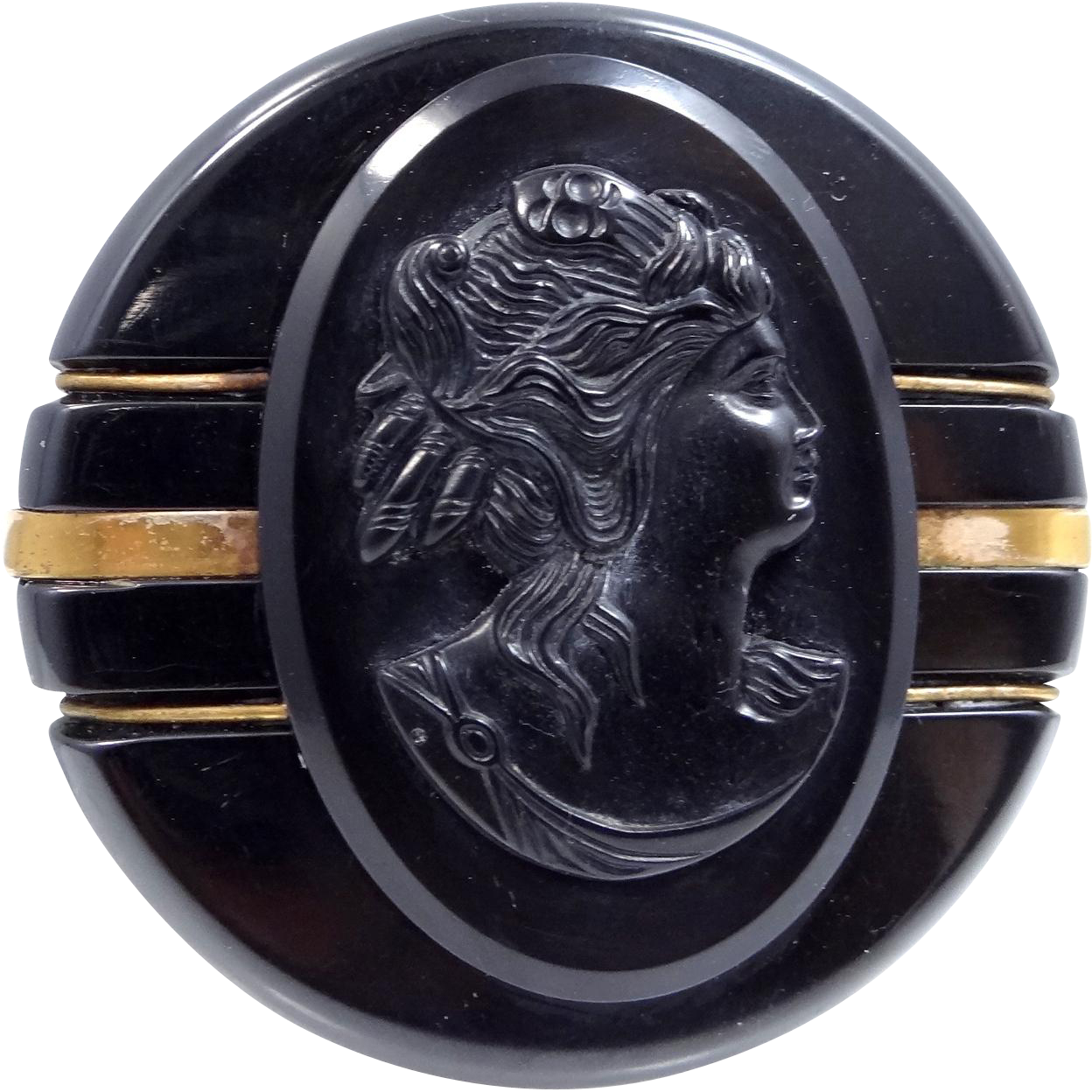 Black Bakelite Cameo Brooch with Metal Decorations