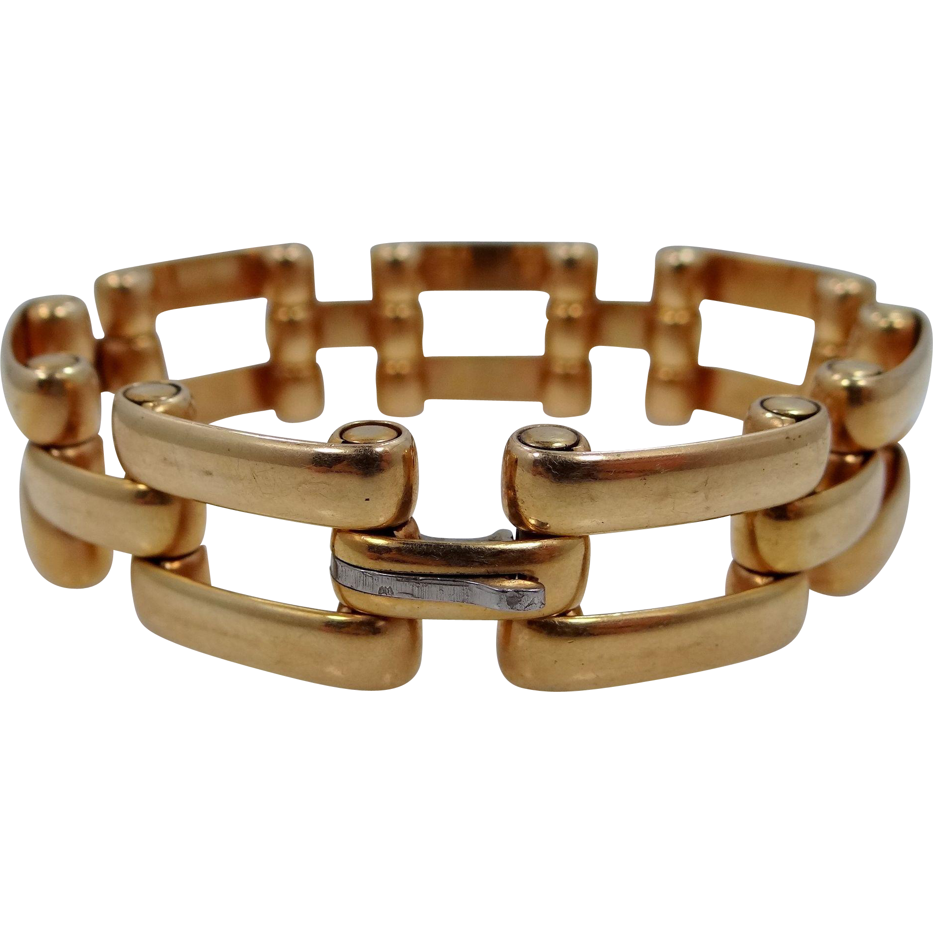 Retro Simmons Gold Filled Gate Style Flexible Links Bacelet
