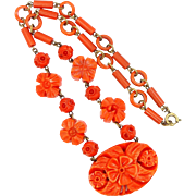 1930s Coral Celluloid Floral Necklace