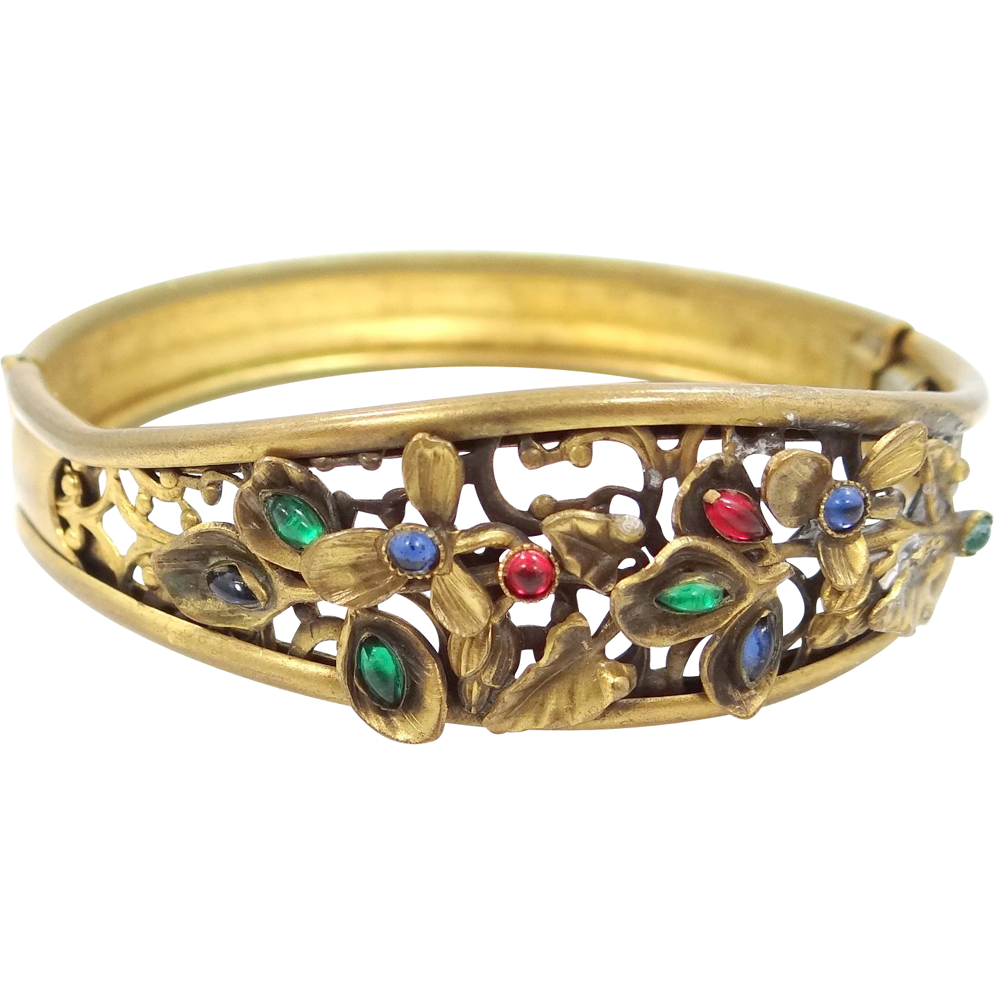 "1920s Coro ""Jeweled"" Filigree Bangle Bracelet"