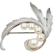 Signed MIKIMOTO Sterling Silver and Akoya Cultured Pearls Pin