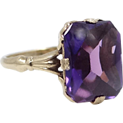 Vintage 10k Gold Synthetic Purple Sapphire Ring