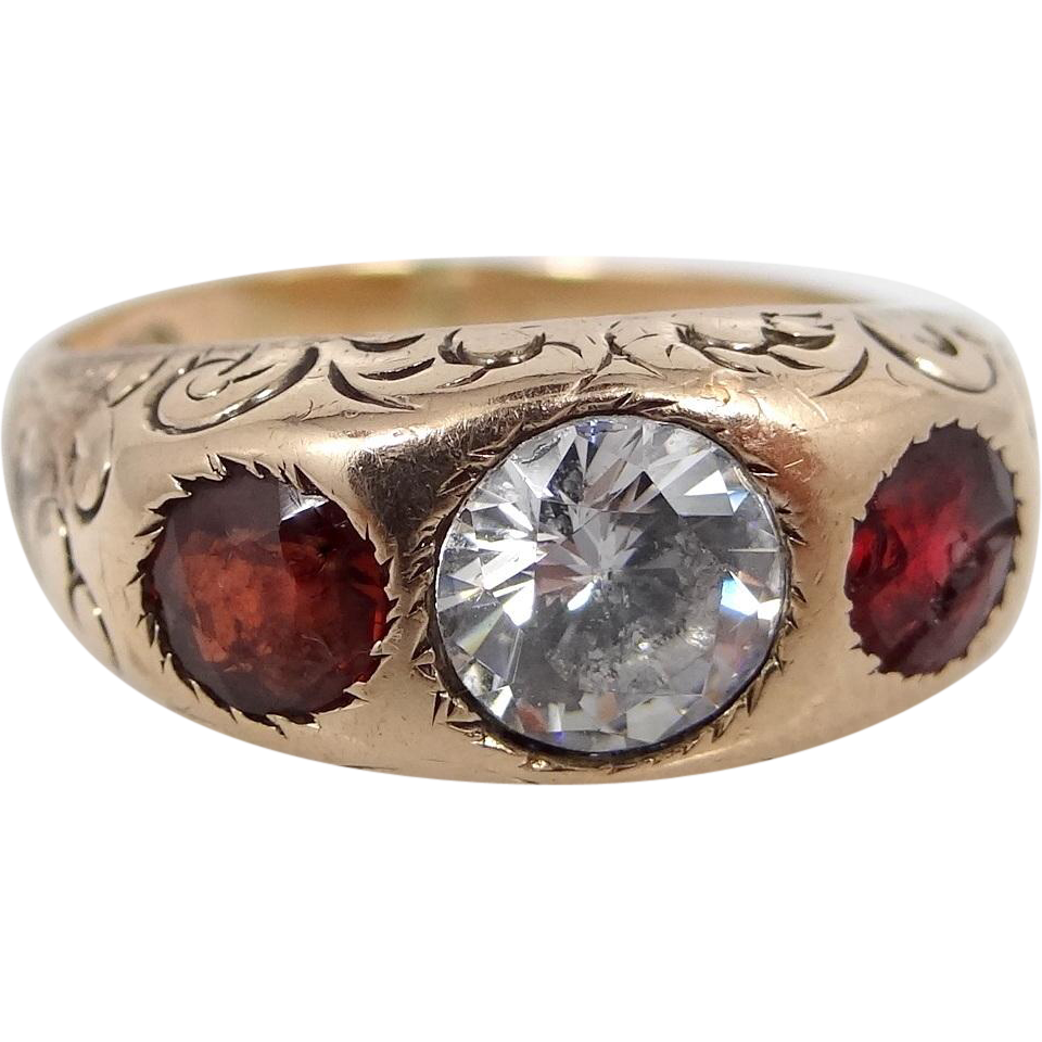 10k Gold Victorian 3 Stone Ring