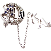 Vintage 10k Lambda Chi Alpha Seed Pearls Fraternity Pin Kappa Alpha Chapter Pin