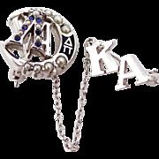 Vintage 10k Lambda Chi Alpha Seed Pearls Fraternity Pin Kappa Alpha Chapter Pin