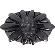 "Carved Black Bakelite Cameo Pin Almost 3"" Wide!"
