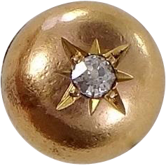 14k Gold and Diamond Clothing Button Victorian