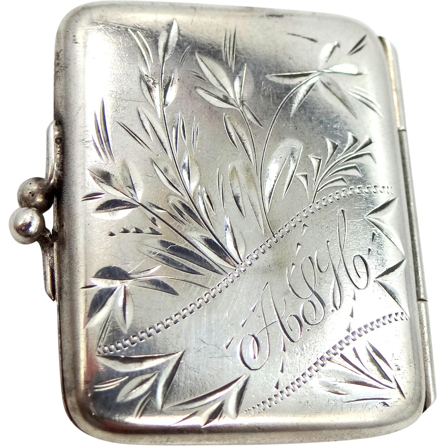 Victorian Sterling Silver Finely Etched Stamp Box