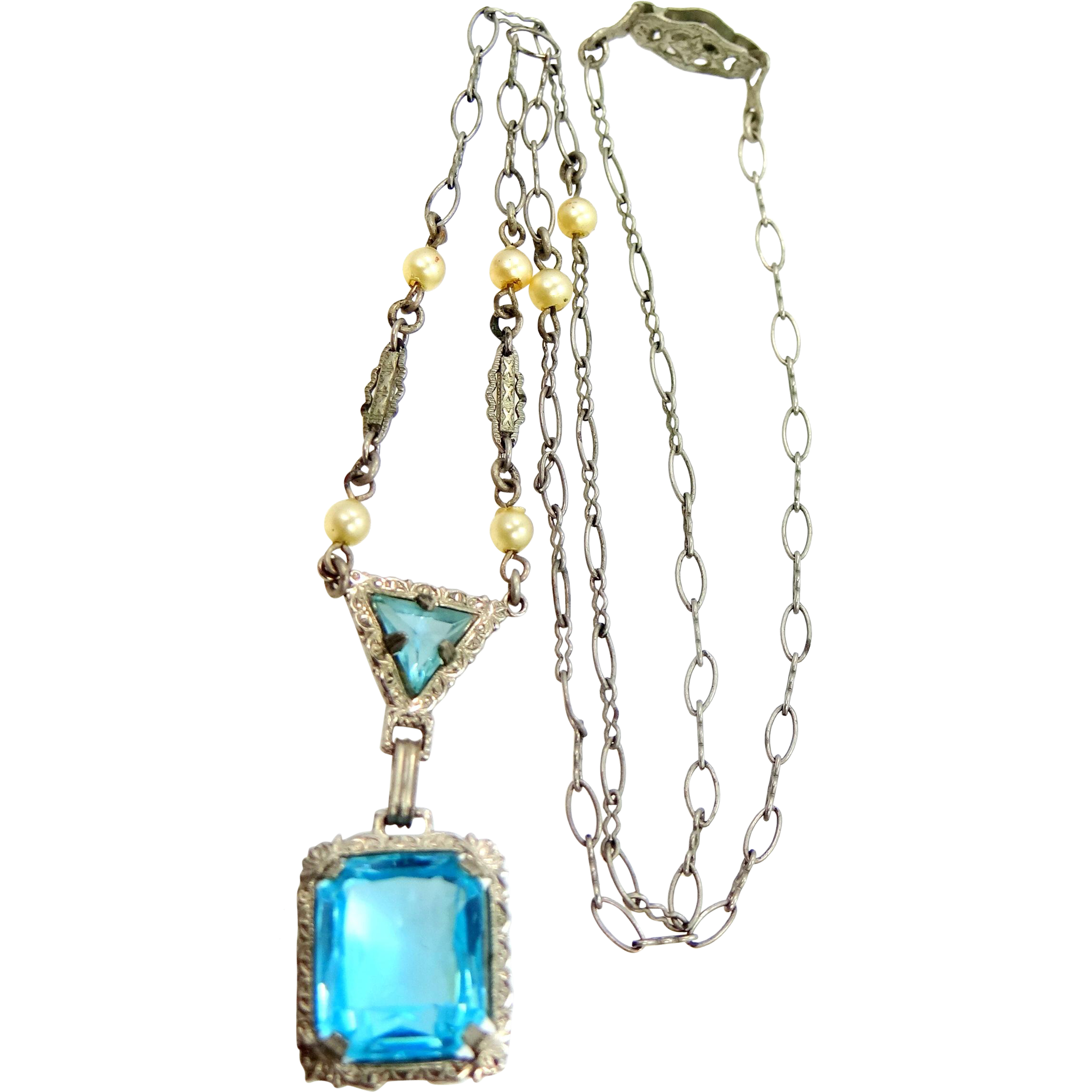 Edwardian Topaz Blue Glass & Faux Pearls Rhodium Plate Necklace