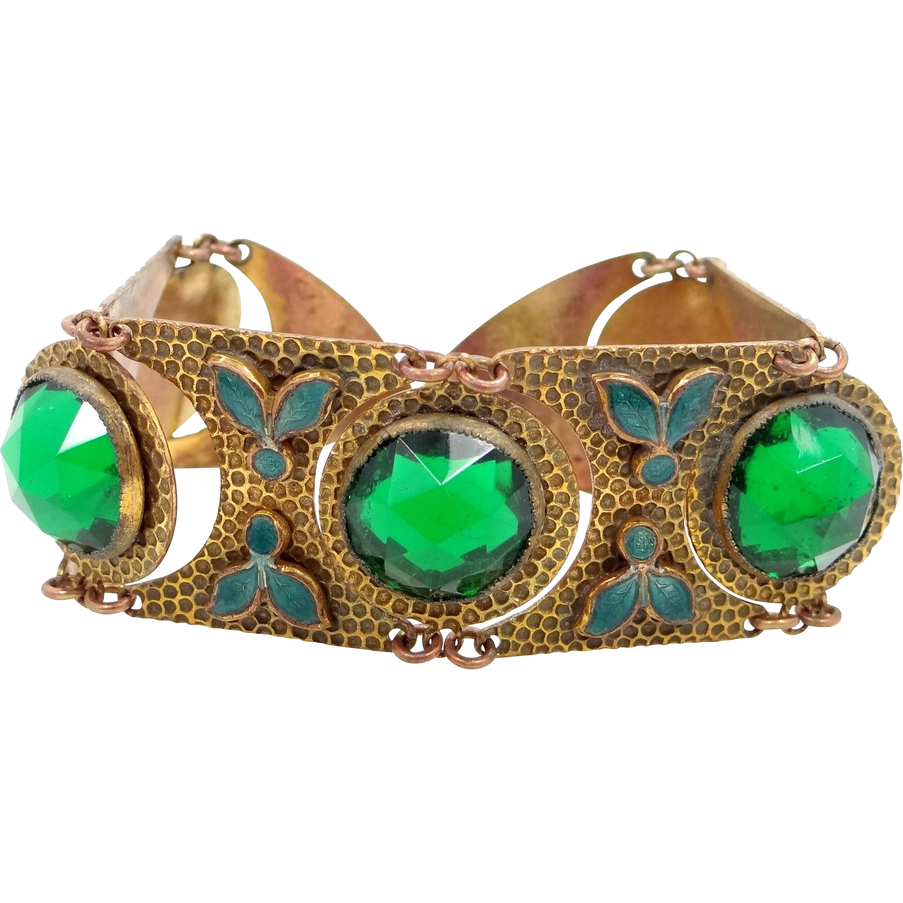 Neat Czechoslovakia Hammered Gilt Brass and Green Glass Deco Bracelet