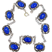 1920s Lapis Blue Glass Art Deco Necklace Czechoslovakia