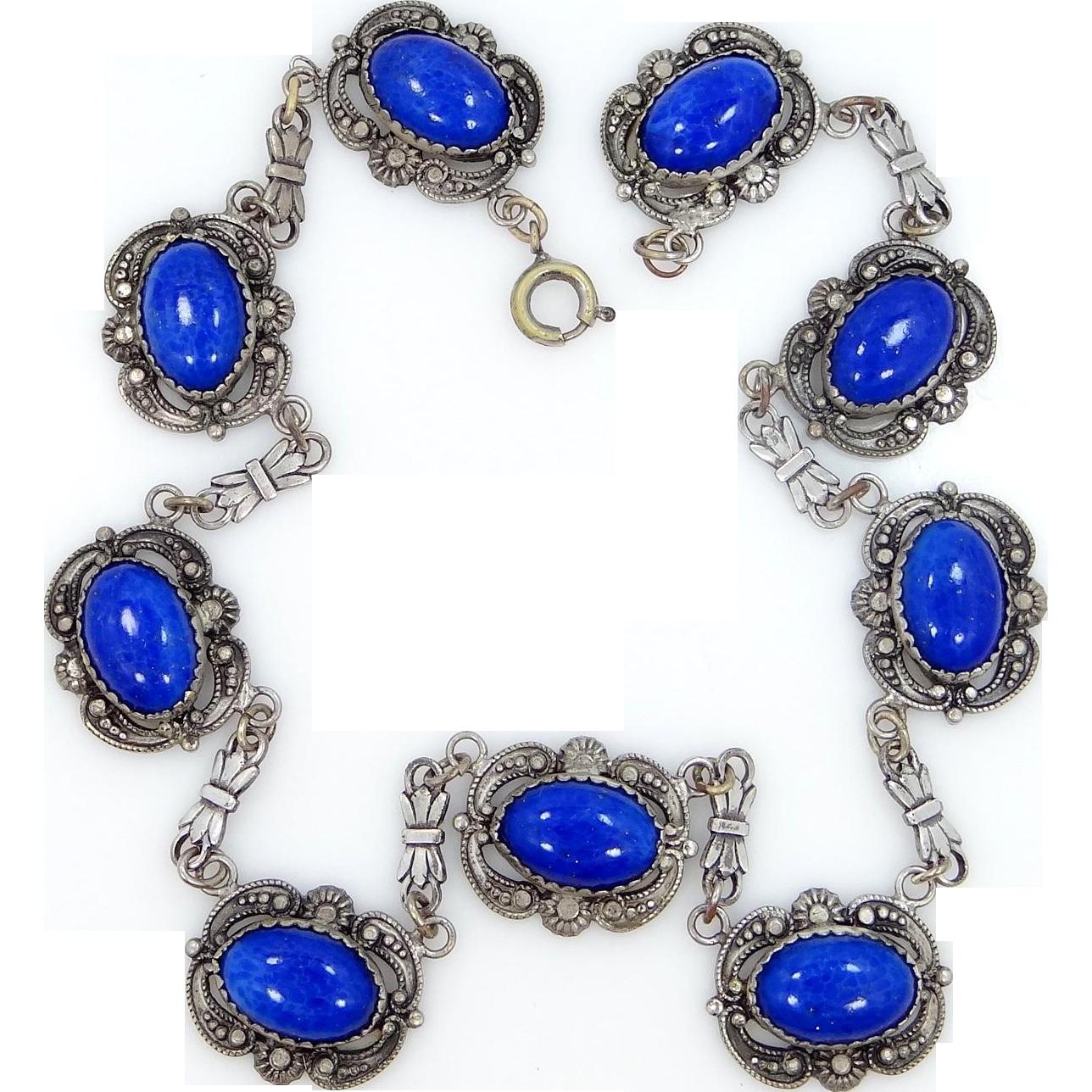 1920s Lapis Blue Glass Art Deco Necklace Czechoslovakia