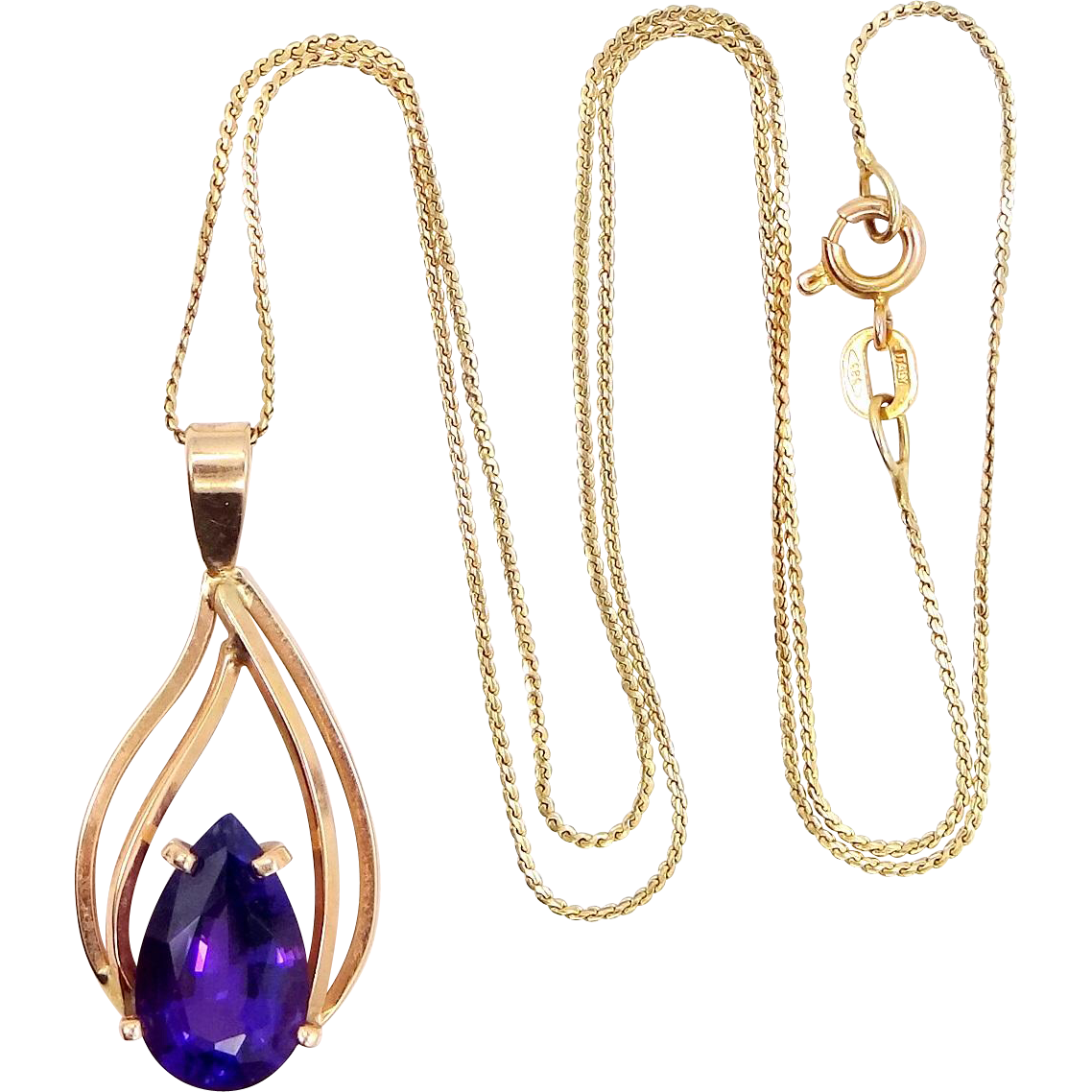 14k Gold 3 Carat Amethyst Solitaire Necklace