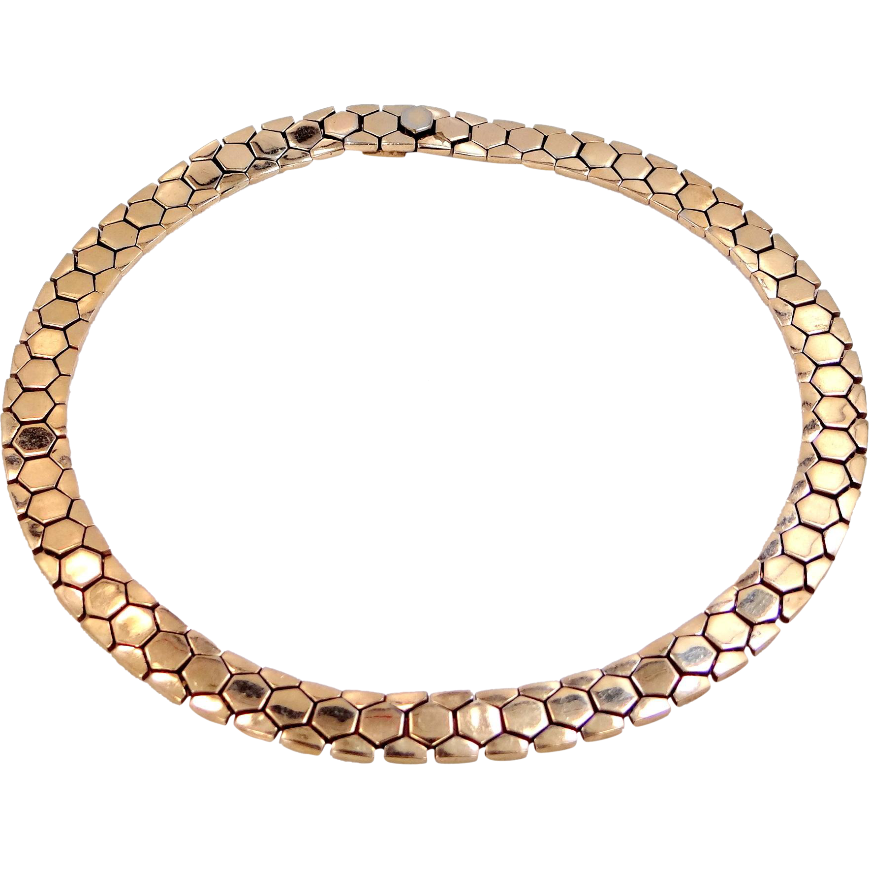 1945 Trifari 'Alfred Philippe' Golden Tesselated Choker Necklace with Hidden Clasp