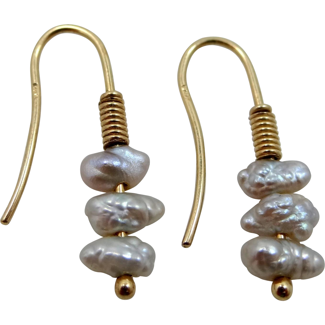 14k Gold Gray Freshwater Pearls Earrings from rubylane-sold on Ruby ...