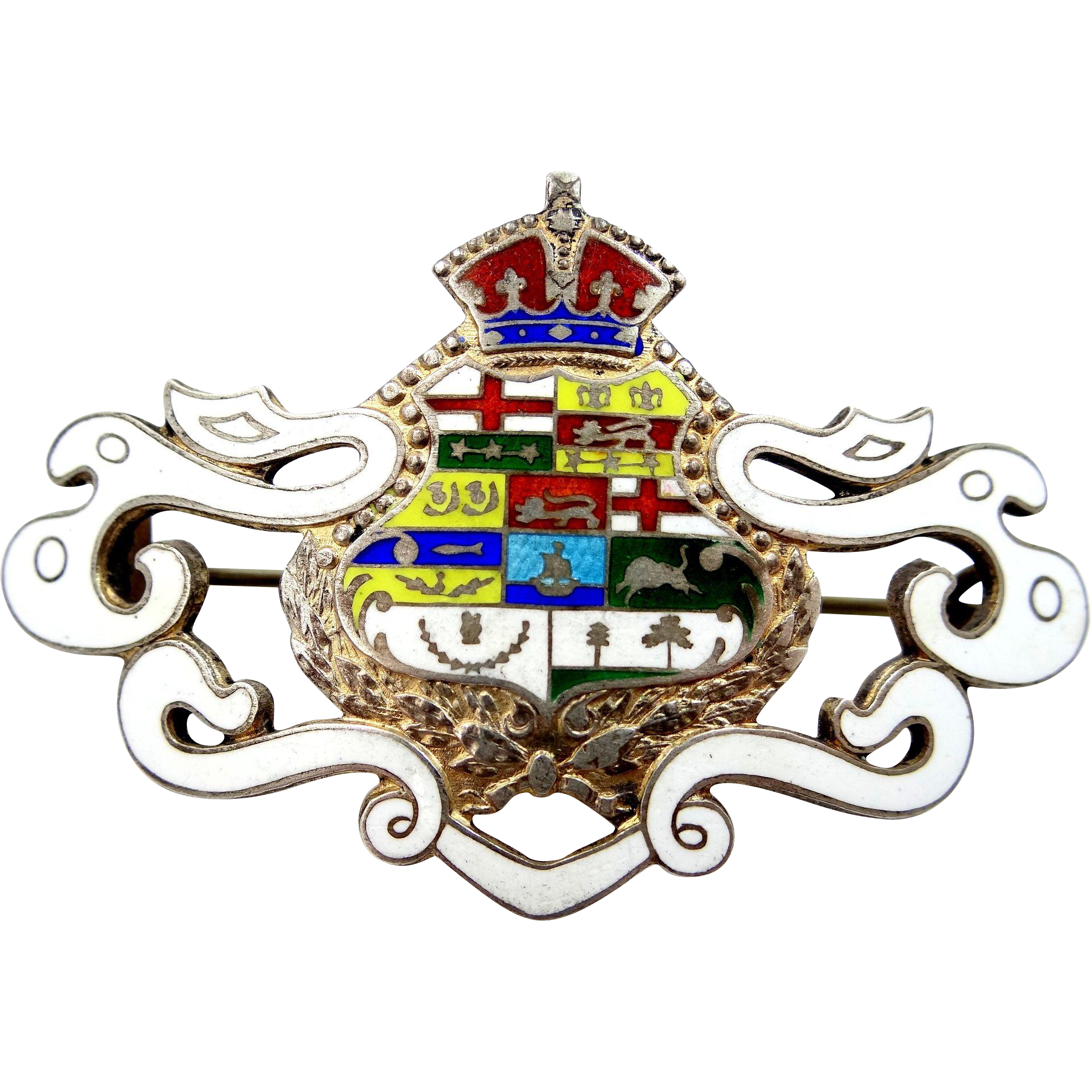 "Large Victorian Sterling and Enamel Pin ""Coat of Arms"""